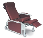 Winco 5271 Geri Chair Drop-Arm 3-Position Convalescent Recliner with Tray
