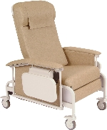 Winco 6551 CareCliner Drop Arm Geriatric Chair with Steel Casters